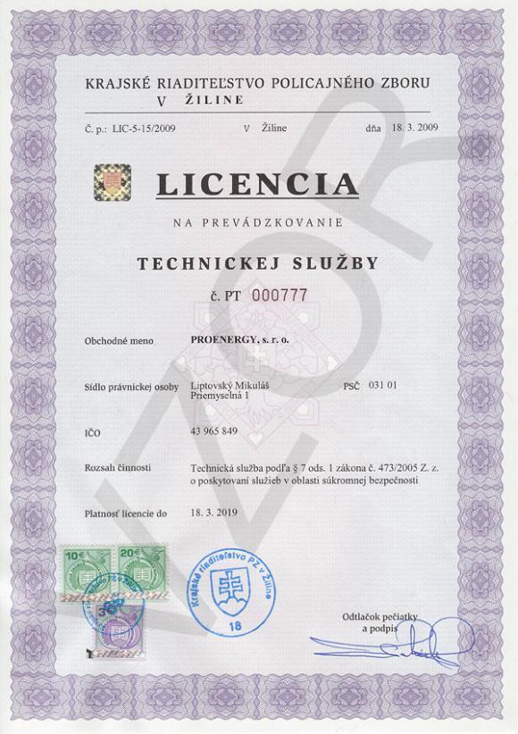 Licencia KRPZ na prevádzkovanie  technickej služby - Plna sirka