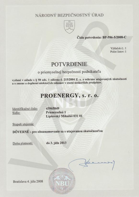 Potvrdenie o priemyselnej bezpečnosti podnikateľa - Plna sirka